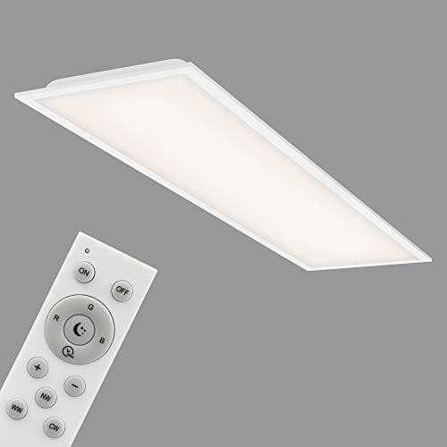 Briloner Leuchten - LED Panel, WiFi Deckenleuchte dimmbar, RGB, App-Steuerung, inkl. Fernbedienung, Timerfunktion, Memoryfunktion, 40 Watt, 3.800 Lumen, Weiß, 1195x295x63mm, 7086-016