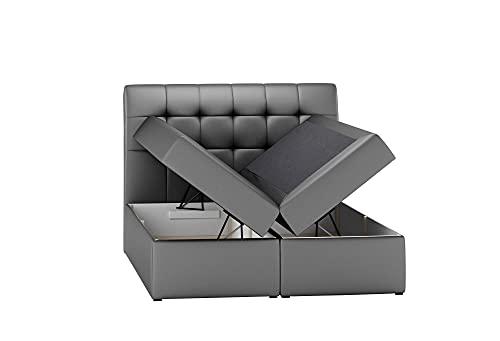 Boxspringbett DIEGOS mit 2 Bettkästen, gepolstertes Kopfteil, Multipocket-Matratze und Topper