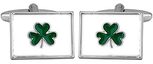 DLC Irish Shamrock Rhodium Teller Manschettenknöpfe