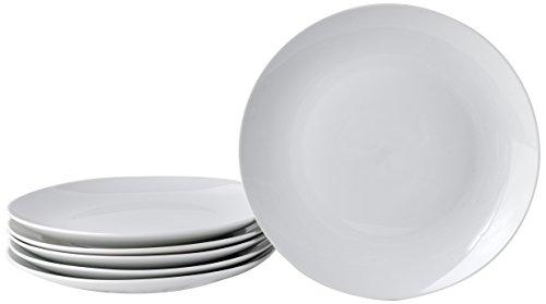 Deagourmet 185 - Juego de Platos Llanos de Porcelana (6 Unidades), Color Blanco