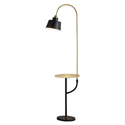 Lámparas de pie Lámpara de pie moderna con mesa de bandeja, lámpara de pie de lectura de arco con pantalla de metal negro Lámpara de pie de poste alto para sala de estar, dormitorio, sala de estudio,