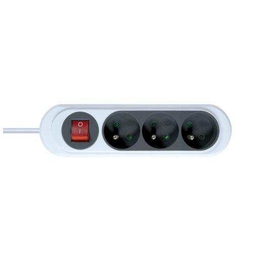 Rallonge électrique - Prolongateur électrique - Rallonge prise - Rallonge prise électrique - Gamme NOLA - 3 Prises 2P+T 16A avec Interrupteur-Cordon 1 mètre, Gris Anthracite