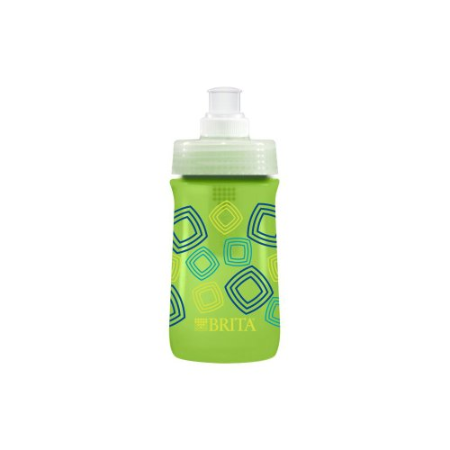 Brita 35762 13 Ounce Kids Sport Water Bottle with Filter-BPA Free-Green Squares