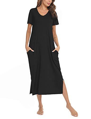 Sykooria Damen Nachthemd Kurzarm Lange aus Baumwolle Nachtwäsche V-Ausschnitt Sommer Nachtkleid Sleepshirt Sleepwear mit Taschen, Schwarz XL