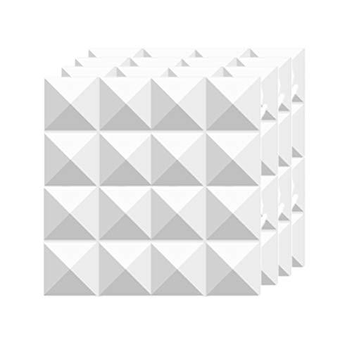Bettli Akustik-Diffusor Panel Studio-Wandpaneel, 30,5 x 30,5 cm, Weiß, 4 Stück