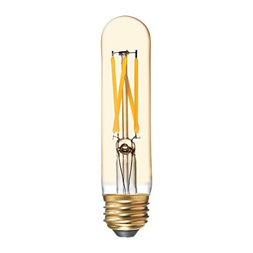 GE Tube LED Vintage Light Bulb, T9 Amber Glass LED Edison Bulb (60 Watt Replacement Dimmable LED Light Bulbs), 500 Lumen, Medium Base Light Bulbs, 1-Pack E26 Edison Bulb