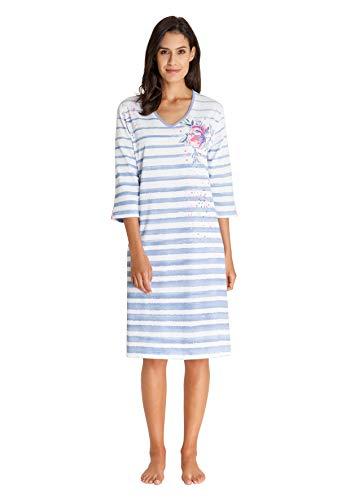 hajo Damen Schalfanzug | Nachtwäsche aus Modal & feinste Microfaser Nachthemd - Weiß gestreift 40/42