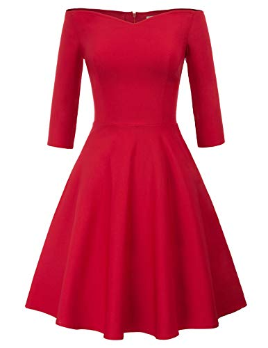 festliches Kleid Damen Knielang Audrey Hepburn Kleid Fashion Rockabilly Kleider CL823-2 S