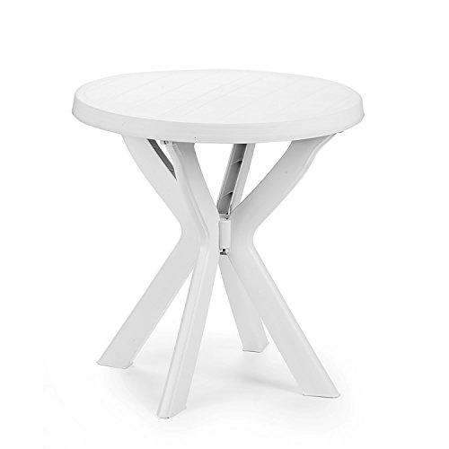 Mojawo Praktischer Bistrotisch - Kunststofftisch - Ø70cm Weiß - rund - Balkontisch - Gartentisch - Terassentisch - Campingtisch