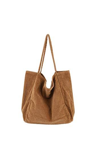 Howoo Damen Groß Cord Retro Schultertasche Beiläufig Handtasche Mode Einkaufstasche braun