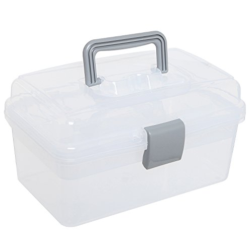 MyGift Clear Gray Multipurpose First Aid, Arts & Craft Supply Case/Storage Container Box w/Removable Tray