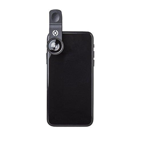 Celly CLIPANDCLICK - Conjunto de 3 Lentes Fotográficas (Ojo de Pez, Gran Angular y Macro) para Mejorar la Cámara del Smartphone, Diámetro de Lente de hasta 8mm, Universal. Negro