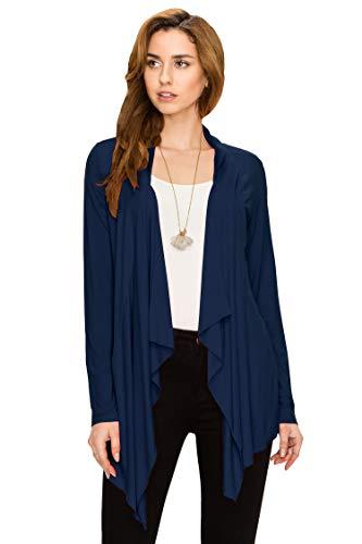 Lock and Love LL Women's Drape Front Open Cardigan Long Sleeve Irregular Hem S-5XL Plus Size Made in USA M Navy