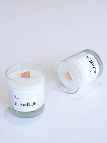 by hand White Scented Soy Crackle Candle - Wood Wick Dripless Crackling Candles Gifts for Women and Vegan Friendly 40 Hour Burn 220g (Wild Fig & Cassis)