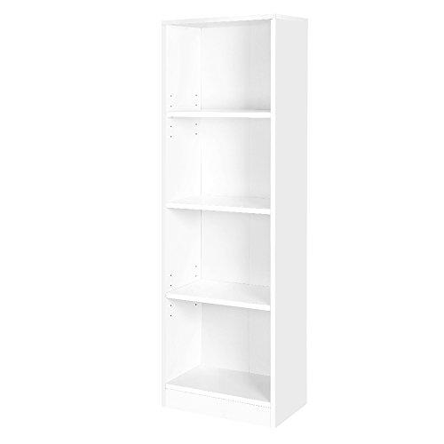 VASAGLE Bücherregal mit 4 Fächern, verstellbare Einlegeböden, Aktenregal für Wohnzimmer, Kinderzimmer und Home Office, 40 x 121,5 x 24 cm (B x H x T), weiß LBC104W