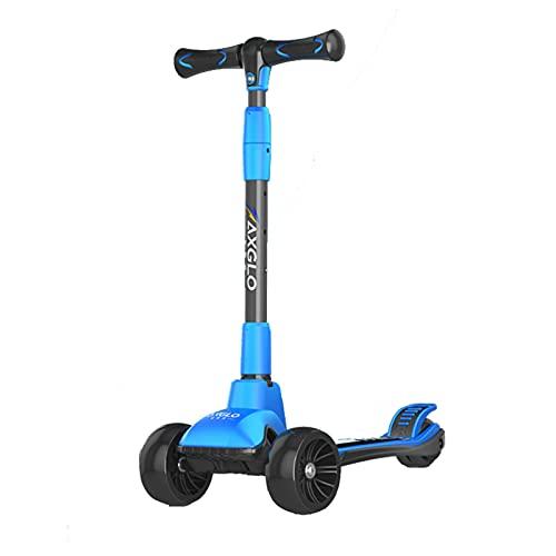 PTHZ Scooter Infantil, con Ruedas Luminosas de PU Ultra Anchas y 4 Scooters Ajustables en Altura, Doble dirección de Gravedad de Resorte, Adecuado para niños de 2 a 12 años,Azul