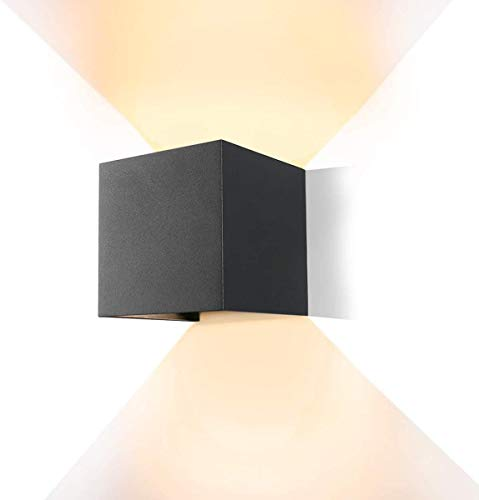 12W LED Wandleuchte Warmweiß dekorative Wandlampen mit Einstellbar Abstrahlwinkel Wohnzimmer Schlafzimmer wasserdicht IP66 LED Wandbeleuchtung im Innen und Außenbereich-Dunkelgrau
