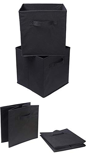 Foldable Storage Cubes(2 Pack), Foldable Storage Box and Toy Basket, Collapsible Fabric Storage Cubes Organizer with Handles for Home Organization, Cube Storage Bins (Black)