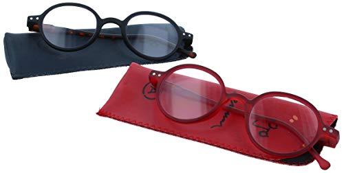 Gleitsichtbrille THILO - erweiterte Fertiglesebrille/Lesehilfe | Arbeitsplatzbrille +2,00 dpt Rot