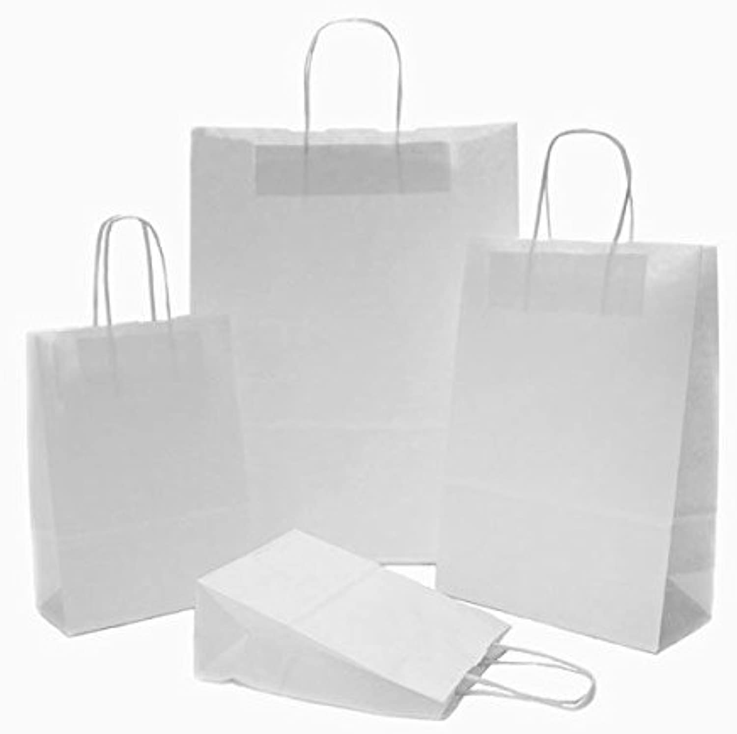 250 x White Paper Party Bags Twisted Handles 23x32+10cm Wedding Favour Bags Birthday Gift Bags