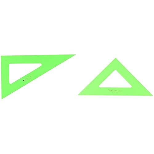Faber-Castell 666 - Cartabón de 21 cm, color verde + 566 - Escuadra de 21 cm, color verde