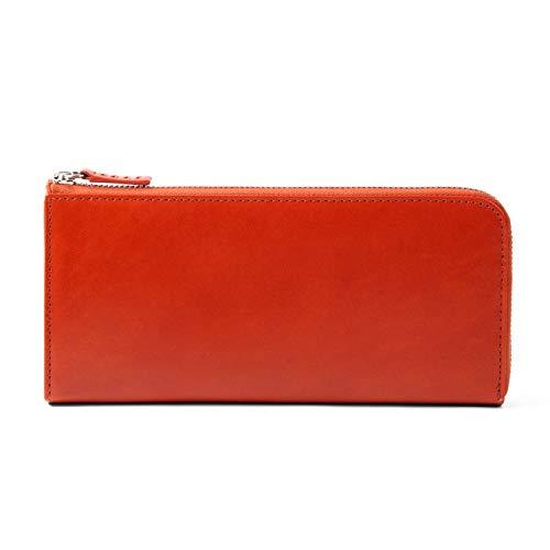 MURA 長財布 本革 レディース 薄型 財布 L字ファスナー RFID スキミング防止 (オレンジ)