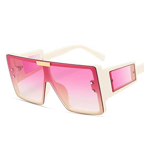WOJING Gafas de Sol cuadradas de una Sola Pieza Mujer Hombre Gafas con Montura Grande Gafas de Lujo Hombre Gafas Retro Vintage UV400