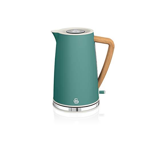 Swan Nordic Ultra Schneller elektrischer Wasserkocher, kabellos, modernes Design, 1,7 l, 2200 W, Griff in Holzoptik, automatische Abschaltung, Grün