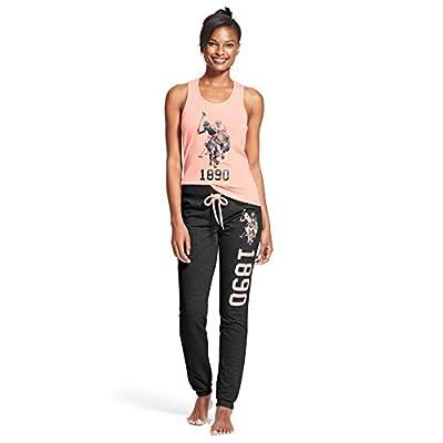 U.S. Polo Assn. Womens 2 Piece Tank Top Shirt Elastic Waist Pajama Yoga Sweatpants Light Pink 1X
