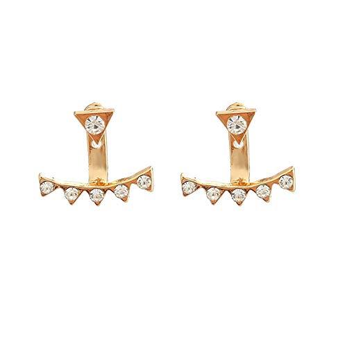 Joyería simple y de moda para mujer, pendientes personalizados, fila de diamantes, pendientes triangulares pequeños-B