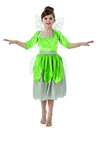 fun shack Childrens Green Pixie Fairy Costume with Sound Girls Dress & Wings - Small