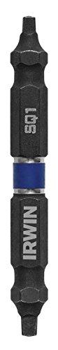 IRWIN 1882424 Broca de doble punta para destornillador de impacto, número 1 cuadrado/número 2 cuadrado, 2 3/8 pulgadas, paquete de 10