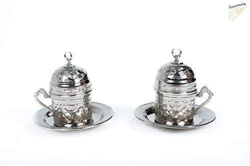SumirHome Türkische Kupfer Kaffeetassen Set für 2 Person - Kaffee Set/Kahve SETI - Spezielle türkische Kaffe/Mokka tassen - Orientalische Kaffeetasse (Silber)