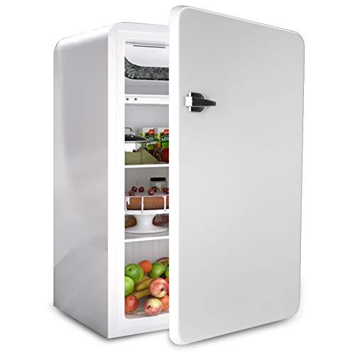 Retro Compact Refrigerator, Safeplus 3.2 Cu.Ft Mini Fridge, Small Drink Food Storage Machine for Dorm, Garage, Camper, Basement or Office (White)