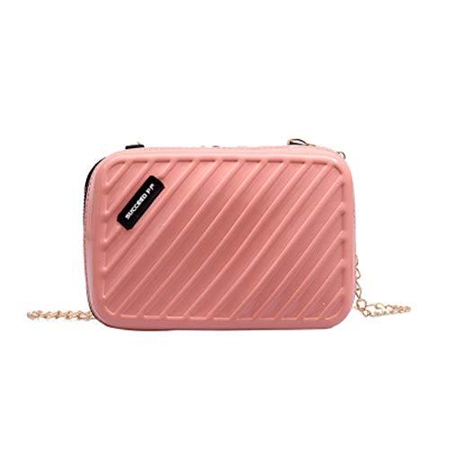 Aly Bolso de hombro para mujer-bolso diagonal de charol de cuero pu-mini bolsa-bolsa de equipaje-estuche de cosméticos de cadena para mujer bolso de cosméticos de pu (12 * 18 * 5cm, Rosado)
