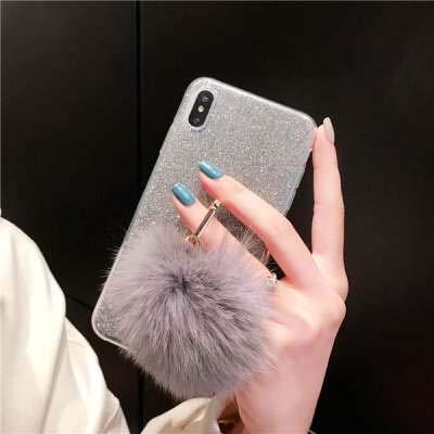 Misstars Flauschige Ball Hülle für Huawei P Smart Plus/Nova 3i, Ultra Dünn Transparent Weiche TPU Silikon + Glitzer Silber Papier Hybrid 2 in 1 Design Bling Schutzhülle mit Ring Ständer - 2