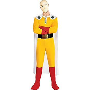 Party City One Punch Man Halloween Costume for Adults Standard Size Includes Jumpsuit Cape Mask Glove and Belt
