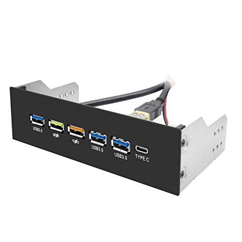 EZDIY-FAB USB 3.0 HUB 5.25 Zoll Metall Frontplatte USB HUB 1-Type-C Port/ 3-USB 3.0 Ports QC3.0 18W Ricarica Rapida Port