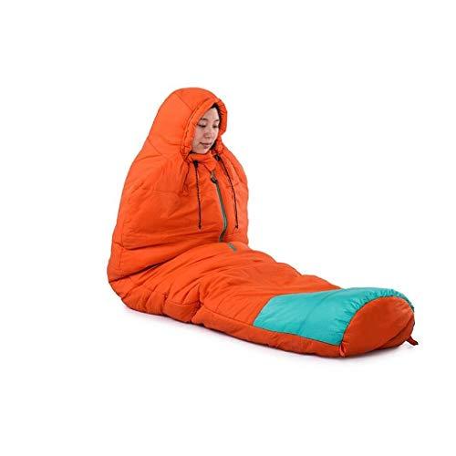 BABY Printemps et Automne Sac de Couchage Portable ouvrant et fermant Chaud Coton imperméable Momie (Color : Orange)