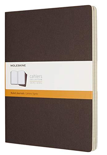 Moleskine Cahier Journal da 120 Pagine, Set 3 Quaderni a Righe, Copertina in Cartoncino, Dimensione Extra Large 19 x 25 cm, Colore Marrone Caffè