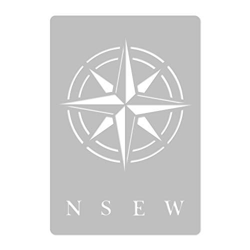 Wiederverwendbare Wandschablone aus Kunststoff // Kompass // Muster Schablone Vorlage (41x41cm)