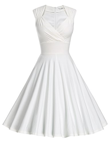MUXXN Women's 50s 60s Vintage Sexy V-neck Swing Dress (S, White)