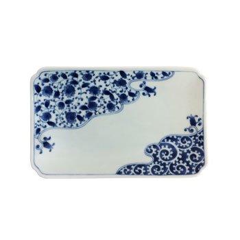 Porcellana–Piatto rettangolare Unryu Karakusa
