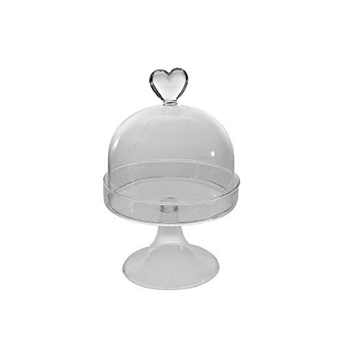 Bavaria Home Style Collection Glas Glocke Glaskuppel mit Standfuß I Weihnachtsdeko Deko-Schale mit Herz für Pläzchen I Deko-Objekt für Weihnachten Winter-Dekoration Wohnzimmer I Dekorative Glashaube