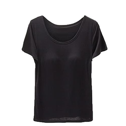 Camiseta de Verano de Manga Corta para Mujer con Almohadilla para el Pecho Sujetador de Color sólido una Camisa de Media Manga con Fondo