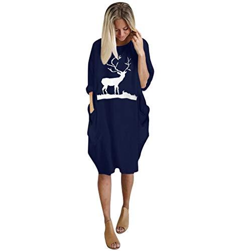 Dames Kerst Jurk Lange Mouw Rendier Print Swing Jumper Winter T Shirt Jurken Casual Comfy Plus Size Losse Tops Jurk