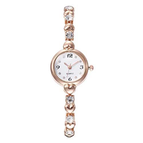UKCOCO Reloj de Mujer: Reloj de Cuarzo Esfera de Correa Dorada Reloj con Diamantes Hermosos Cómodo Y Sencillo Reloj de Mujer para Mujeres de Todas Las Edades