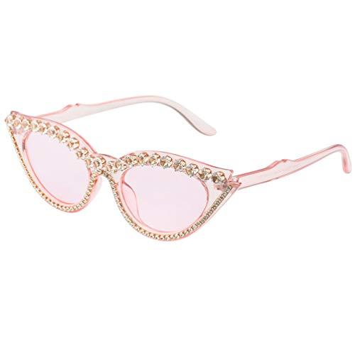 PRETYZOOM Gafas de Sol de Gato de Cristal Moda Vintage Rhinestone Brillante Protección Uv Gafas de Seguridad Gafas Protectoras para Fiesta Al Aire Libre (Rosa)