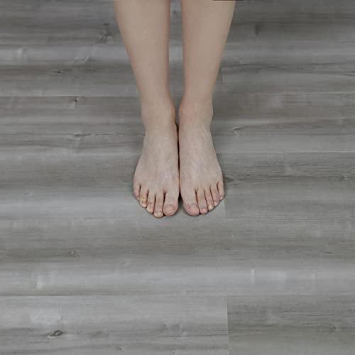 NUFLR 15X90cm Grey Self Adhesive Floor Tile Vinyl Flooring 10pcs Wood...