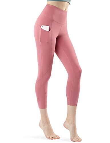 TSLA High Waist Yoga Pants with Pockets, Tummy Control Yoga Leggings, Non See-Through 4 Way Stretch Workout Running Tights, Capri Aerisoft(fyc64) - Pale Pink, Medium